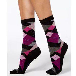 NWT Hue Lot of 2 Argyle Black Purple Crew Socks